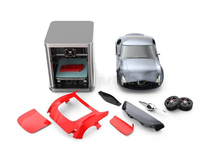 parties du corps de voiture d'impression de l'imprimante 3D image stock