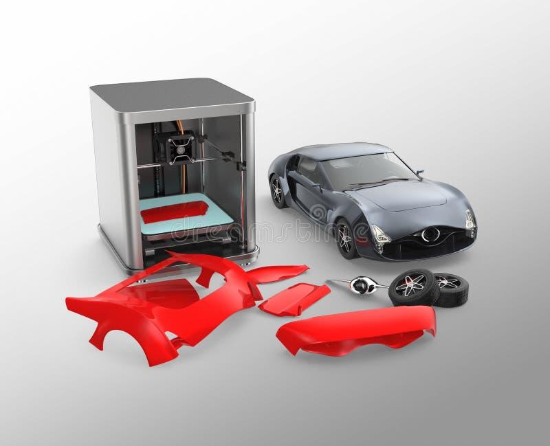 parties du corps de voiture d'impression de l'imprimante 3D illustration libre de droits