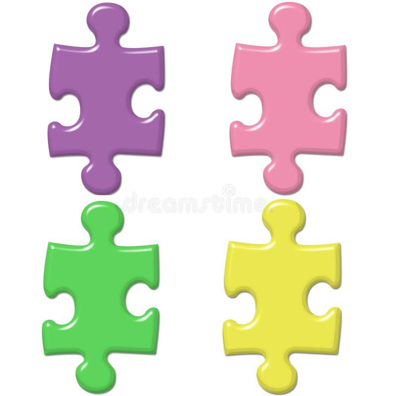 Parties en pastel de puzzle illustration de vecteur