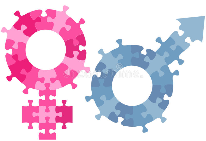 Parties hommes-femmes de puzzle denteux de symbole de sexe de genre illustration de vecteur