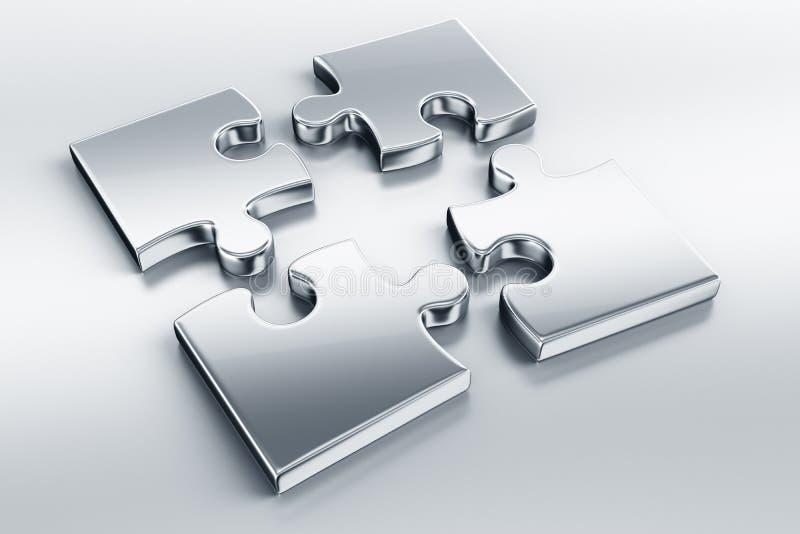 Parties métalliques de puzzle illustration stock