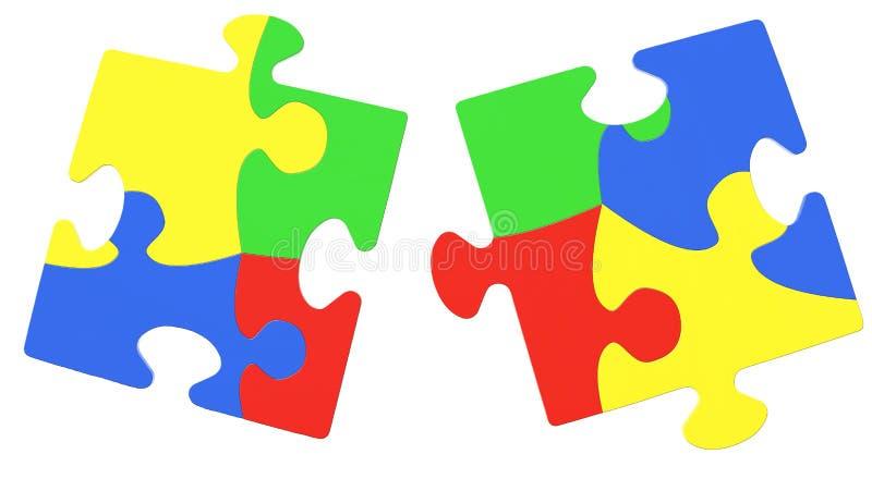 Parties multicolores de puzzle symbolisant la conscience d'autisme photo libre de droits