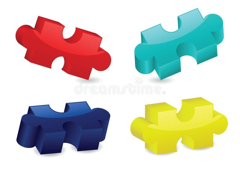 Parties tridimensionnelles lustrées de puzzle illustration stock