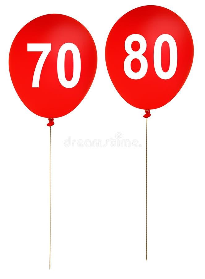 Partiet för den lyckliga födelsedagen sväller åldrar 70, 80 - som isoleras på vit b vektor illustrationer