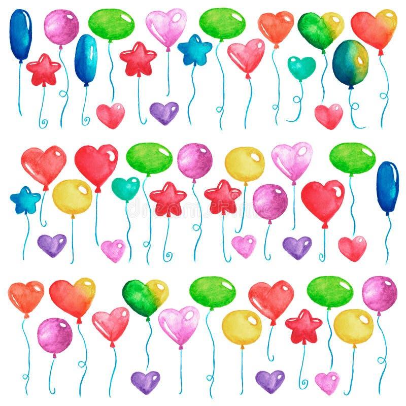 Partiet för den lyckliga födelsedagen sväller färgrika luftballonger för inbjudanvykort som gifta sig affischvattenfärgillustrati vektor illustrationer
