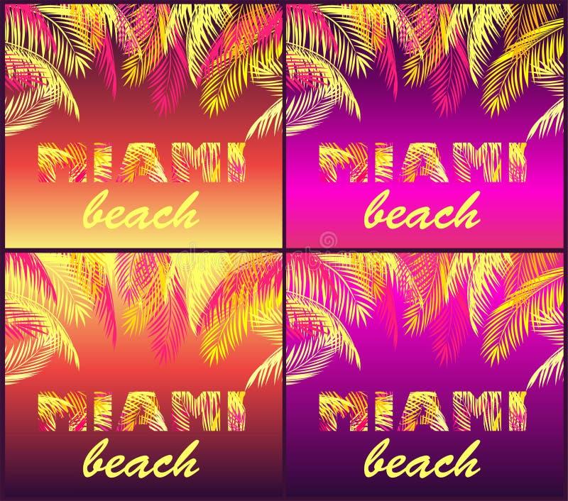 Partiet för T-skjortanatten skrivar ut variation med Miami Beach bokstäver med gula och rosa palmblad på neonbakgrunder royaltyfri illustrationer