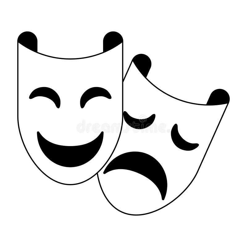 Partiet maskerar festfestfestsfest i svart och vitt royaltyfri illustrationer