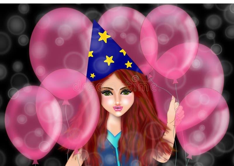 Partiet och födelsedagflickan vektor illustrationer