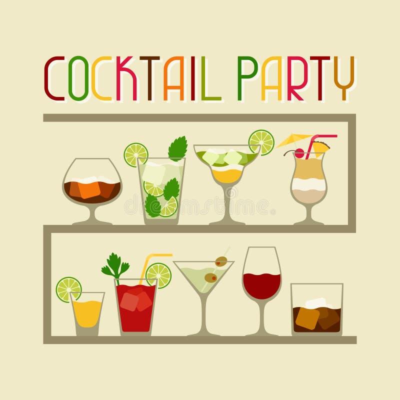 Partiinbjudan med alkoholdrinkar och coctailar royaltyfri illustrationer