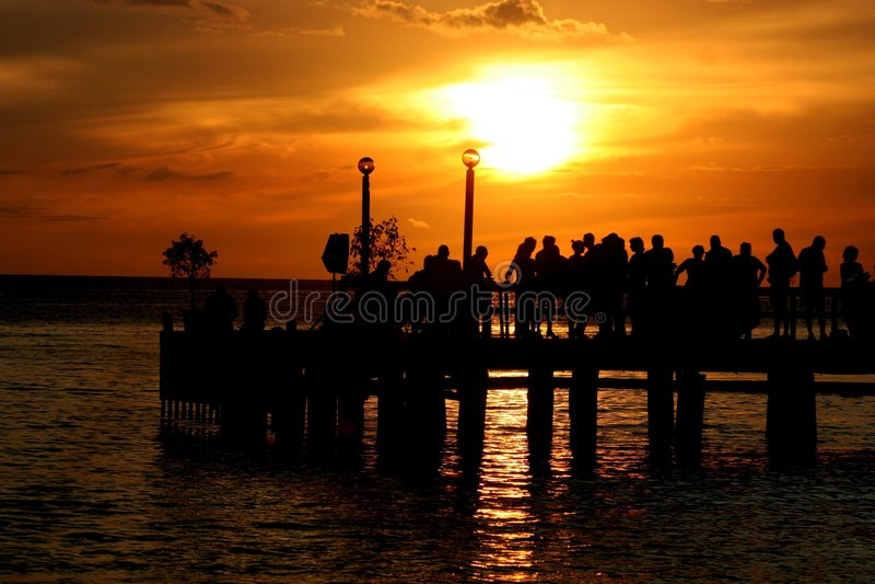 Partij bij Zonsondergang stock foto's