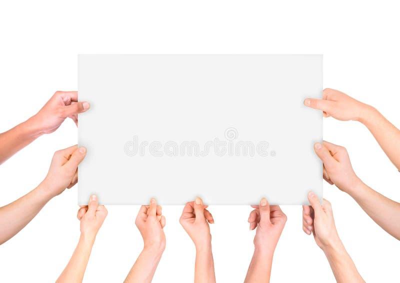 Partij die van hand witte banner houden stock afbeeldingen