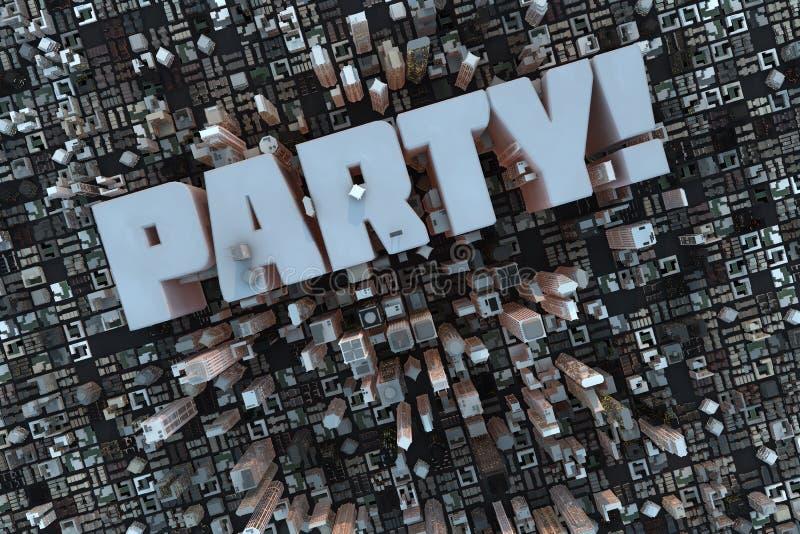 Partij in een 3D stad royalty-vrije illustratie