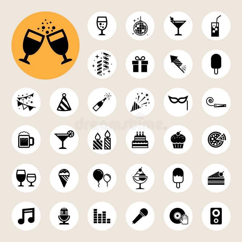 Partij en de reeks van het Vieringspictogram. stock illustratie