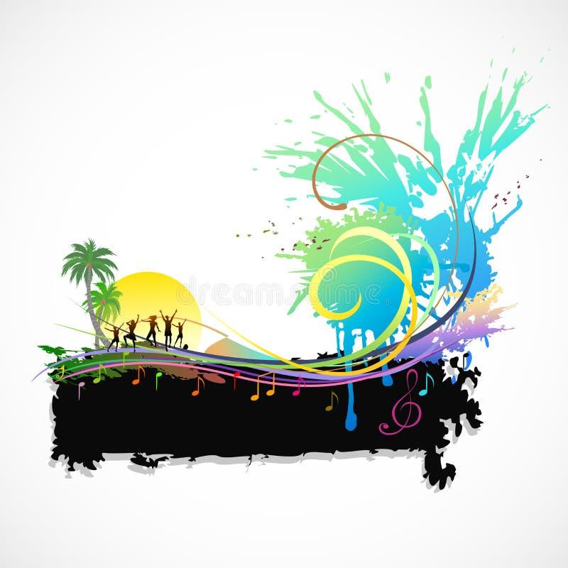 Partij op een Strand vector illustratie