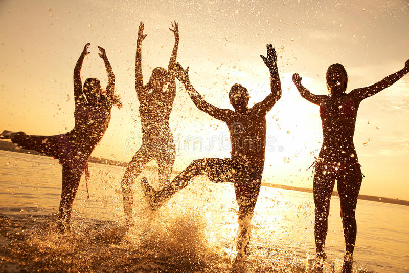 Partij op strand royalty-vrije stock fotografie