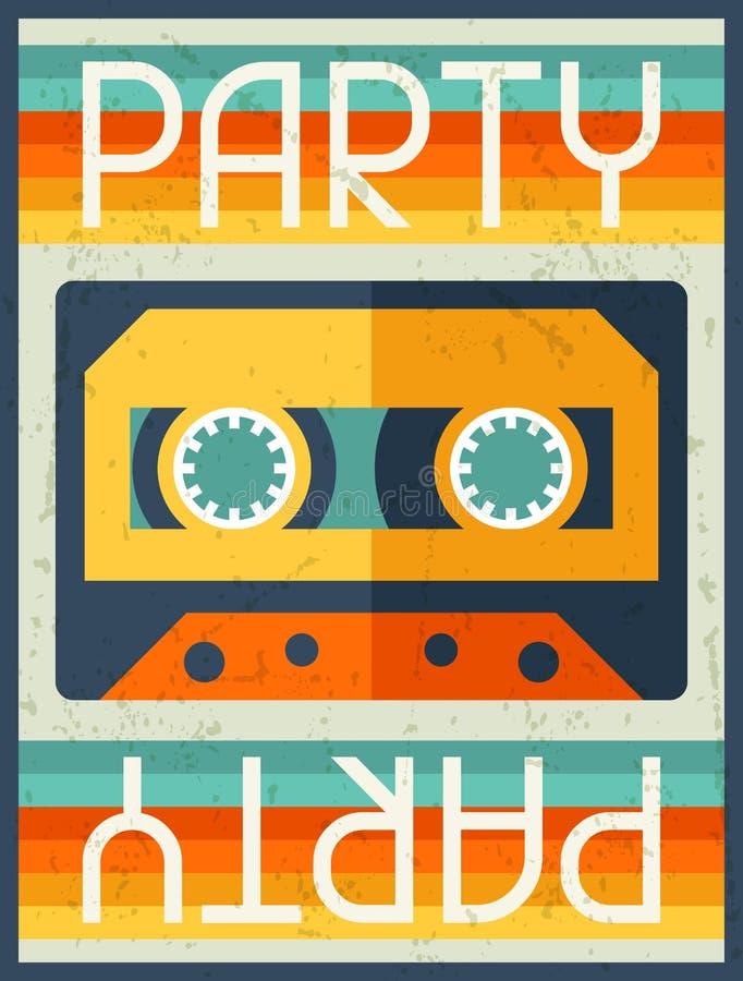 Partij retro affiche in vlakke ontwerpstijl royalty-vrije illustratie