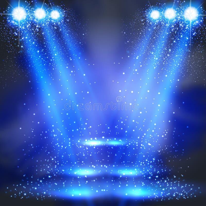 Partij, stadium, disco, licht, schijnwerpers royalty-vrije illustratie