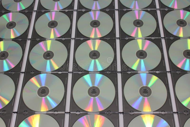 Partij van CD compact disc in plastic gevallen royalty-vrije stock afbeelding