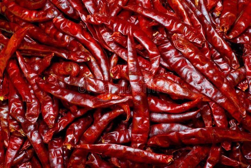Partij van droge Spaanse peper als voedselachtergrond royalty-vrije stock afbeeldingen