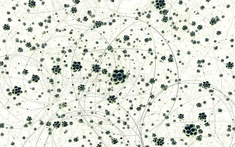 Partij van koolstofatomen op wit stock foto