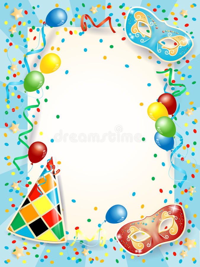 Partijachtergrond met Carnaval-maskers, ballons en exemplaarruimte stock illustratie