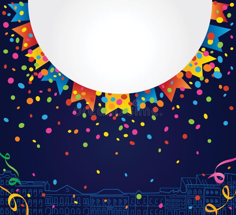 Partijachtergrond met witte ruimte voor tekst met rond confettien en gekleurde vlaggen vector illustratie