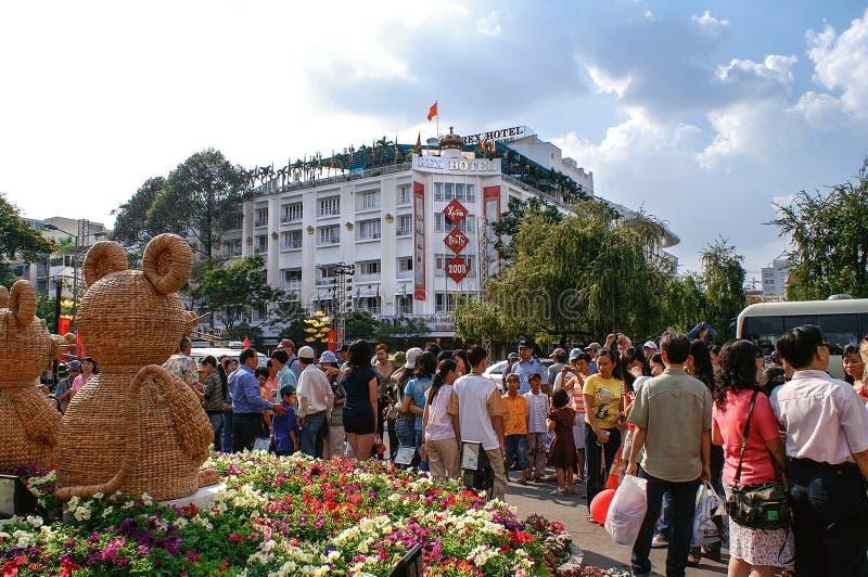 Partijatmosfeer bij TET-Festiviteiten in Ho Chi Minh City (Saigon) royalty-vrije stock fotografie