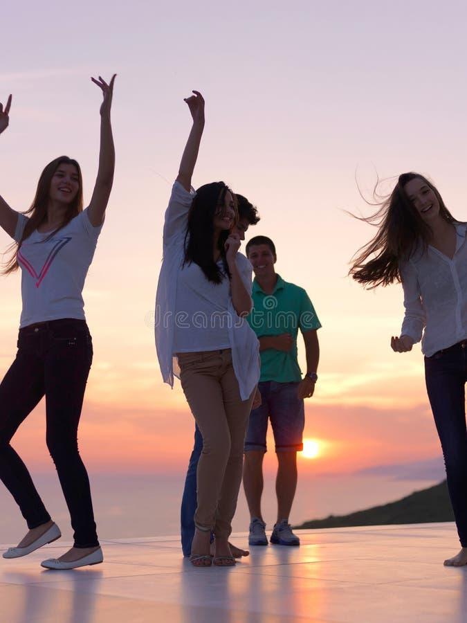 Partijmensen op zonsondergang stock afbeelding