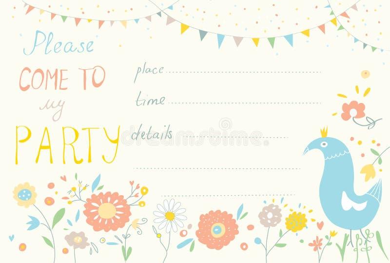 Partijuitnodiging met bloem en vogel leuk ontwerp vector illustratie