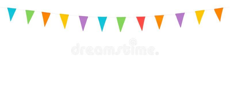 Partijvlaggen op een witte achtergrond worden geïsoleerd die stock illustratie