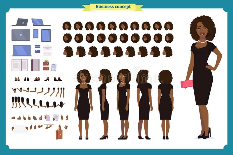 Partijvrouw in zwarte in luxetoga  vector illustratie
