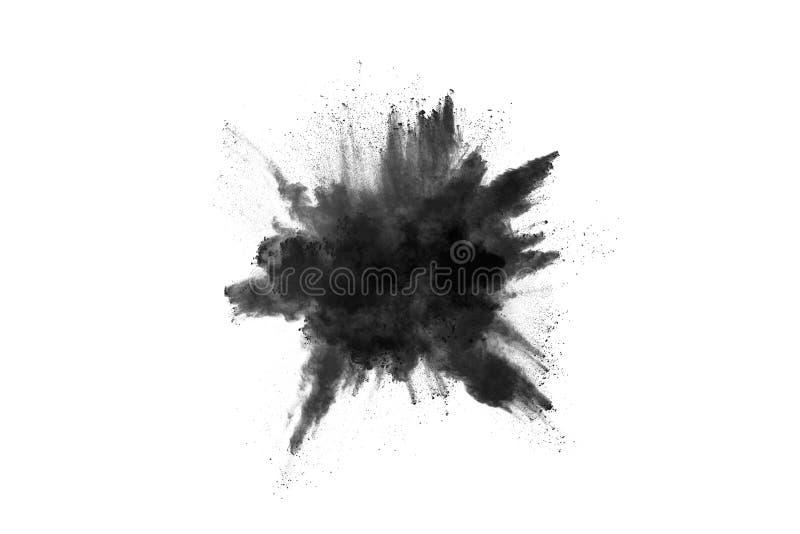 Partikel der Holzkohle auf weißem Hintergrund, abstraktes Pulver splatted auf weißem Hintergrund stockfotografie