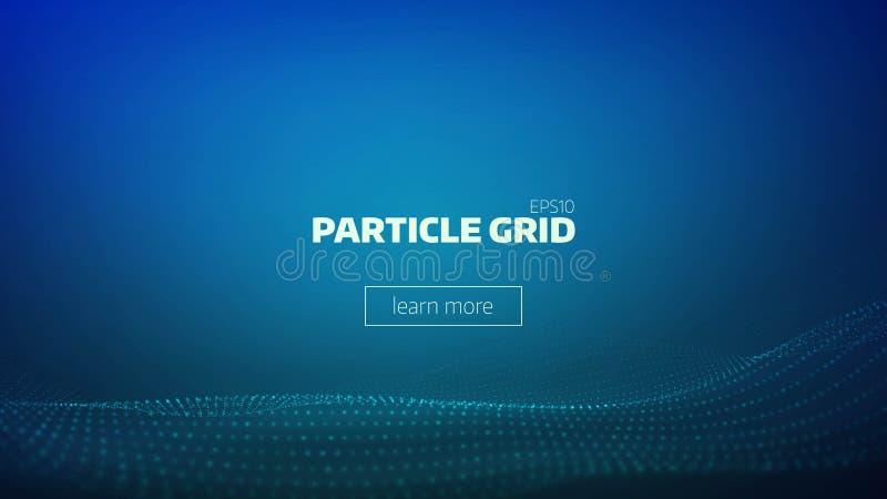 Partikelgitter-Zusammenfassungshintergrund Minimaler Hintergrund der Technologie für Darstellung Cyberwelle vektor abbildung
