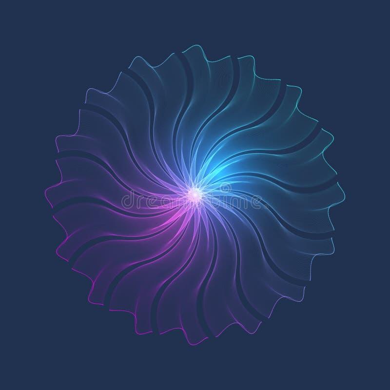 Partikelturbulenz, Punkt, punktierte, zeichnet Verbindung, dreidimensionalen digitalen Bereich Fractalverbindungsstruktur, Vektor stock abbildung
