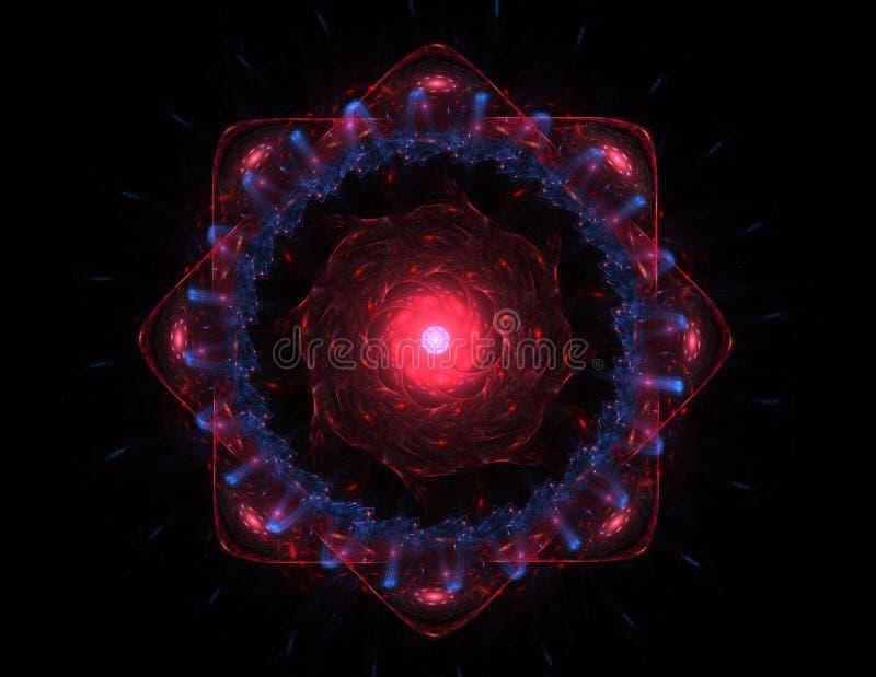 Partiklar av den abstrakta fractalen bildar på ämnet av vetenskap för kärn- fysik och den grafiska designen Sakralt futuristiskt  stock illustrationer