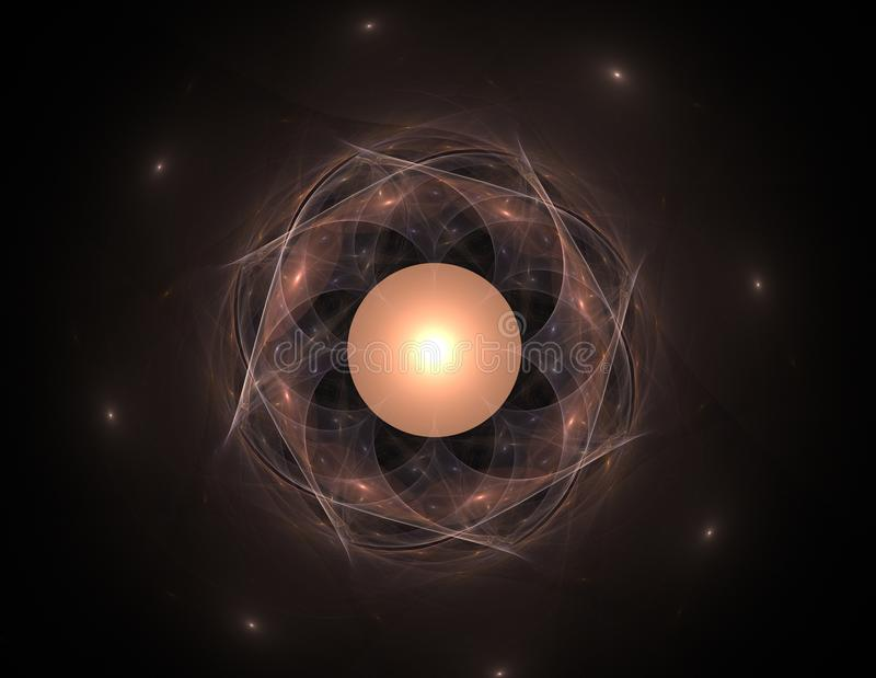 Partiklar av den abstrakta fractalen bildar på ämnet av vetenskap för kärn- fysik och den grafiska designen Sakralt futuristiskt  royaltyfri illustrationer