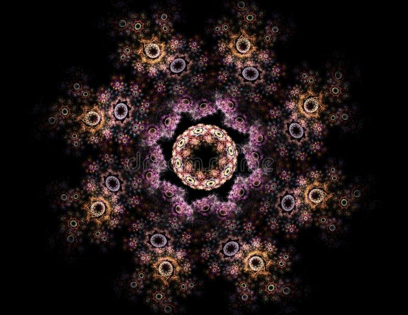 Partiklar av den abstrakta fractalen bildar på ämnet av vetenskap för kärn- fysik och den grafiska designen Sakralt futuristiskt  vektor illustrationer