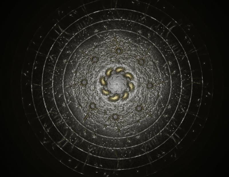Partiklar av den abstrakta fractalen bildar p? ?mnet av vetenskap f?r k?rn- fysik och den grafiska designen Sakralt futuristiskt  stock illustrationer