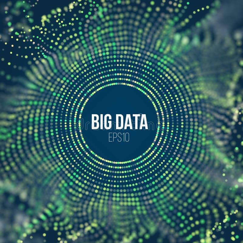 Partiklar för cirkelrastervåg Abstrakt bigdatavetenskapsbakgrund Stor datainnovation som kodifierar teknologi vektor illustrationer