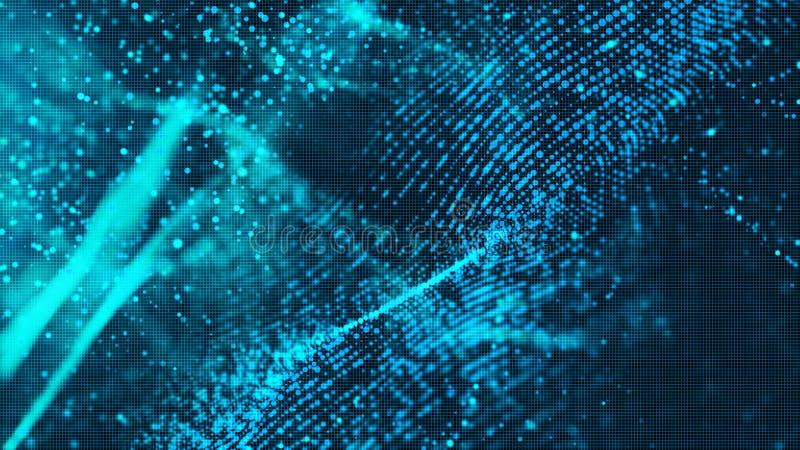 Partiklar för våg för Digital blåttfärg gör sammandrag bakgrund för ditt b stock illustrationer
