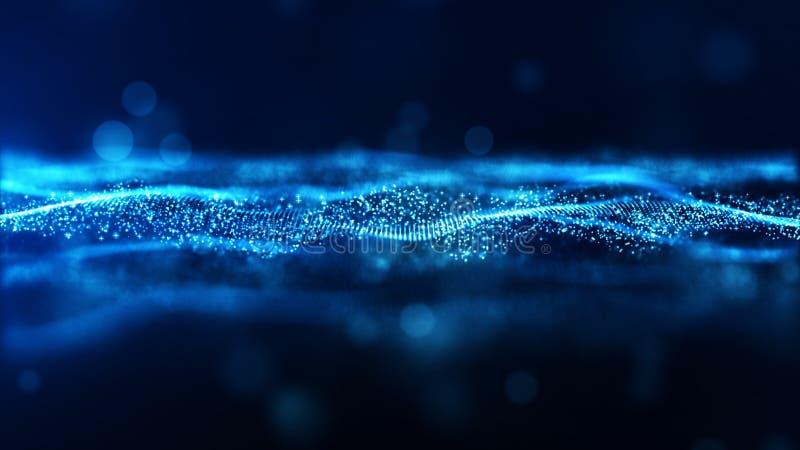 Partiklar för våg för färg för Digital abstrakt begreppblått flödar bakgrund royaltyfri illustrationer