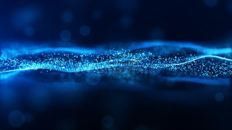 Partiklar för våg för färg för Digital abstrakt begreppblått flödar bakgrund royaltyfria bilder