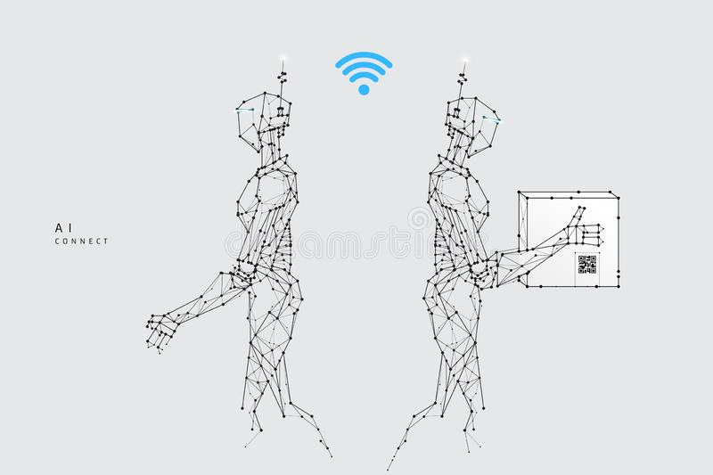 Partiklar, geometrisk konst, linje och punkt för Robot-leverans stock illustrationer