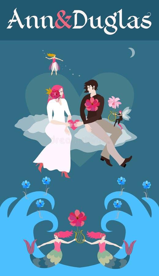 Partikortdesign med blommor och band Bruden och att ansa för att rymma hjärtan i deras händer som sitter på molnen som flyger öve stock illustrationer