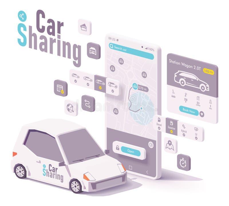 Partilha de carro do vetor e conceito do app do aluguer ilustração do vetor