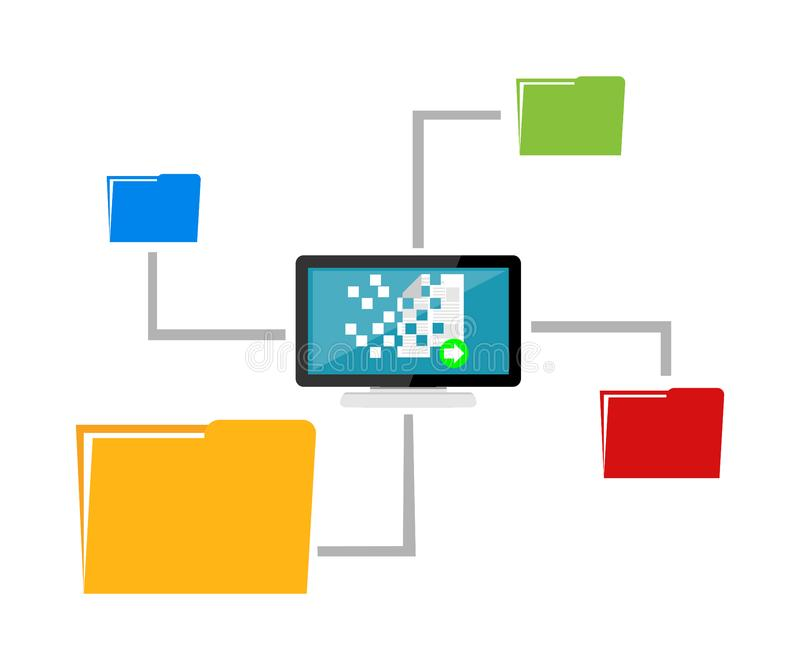 Partilha de ficheiros Distribuição dos dados Gerência satisfeita Conceito da transferência de arquivos ilustração royalty free