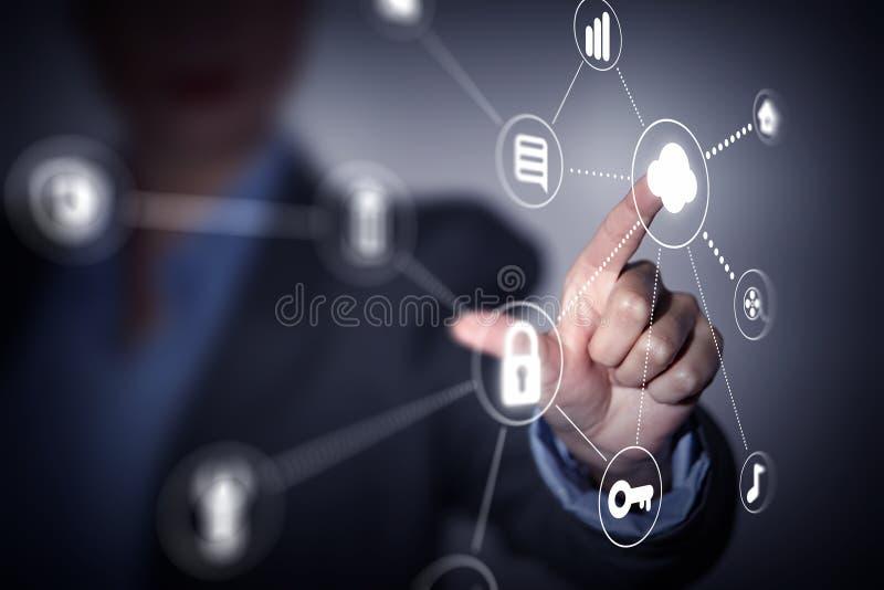 Partilha e conexão da nuvem fotografia de stock