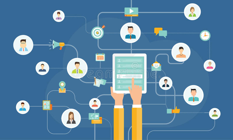 Partilha satisfeita do negócio no conceito móvel conexão de rede social móvel Mercado em linha ilustração royalty free