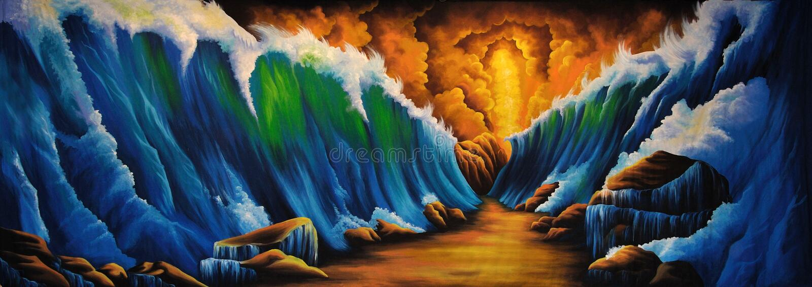 Parting of the Red Sea vector illustration