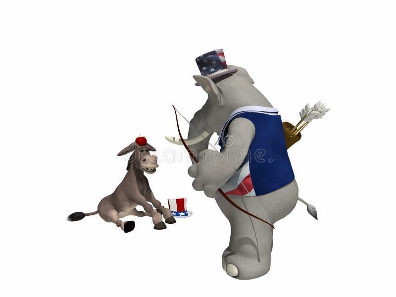 partipolitiskt bågskytte stock illustrationer